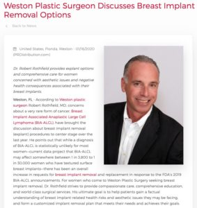 Weston Plastic Surgeon Robert Rothfield, MD Discusses Breast Implant Removal